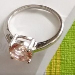 Jewelry - Solid sterling morganite ring • size 8